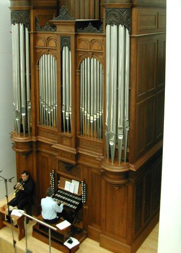 Herbert Christ und Fraser Gartshore bei Aufnahmen im Orgel-ART Museum